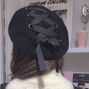 Wholesale 2018 New Lady Elegant Black Japanese Harajuku Wind Bandage Strap Berers Hat For Party