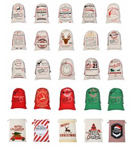Wholesale Christmas Gift Bags Large Beige Drawstring Cotton Bag cm New Year Party Xmas Santa Claus Sacks Gift Bag With Reindeers Multi Styles