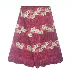 2018 Elegant Burgundy Wine Wholesale Bridal Nigerian Lace Fabrics Royal Blue Gold Peach African French Lace Fabric For Wedding Dress