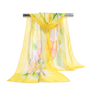 Wholesale hijab flower scarves female shawls super silk chiffon korean decorative fabric air conditioning package belts