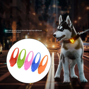 Wholesale Colorful Flash Dog Tags Night Safe Trip Pet Luminous Silicone Pendant Detachable Battery Puppy LED Light Tag Creative gl BB
