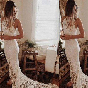 Sexy Sheath Full Lace Garden Wedding Dresses Bohemian High Split Beach african Country Vestido de novia Bridal Gown Train Bride Dress Custom