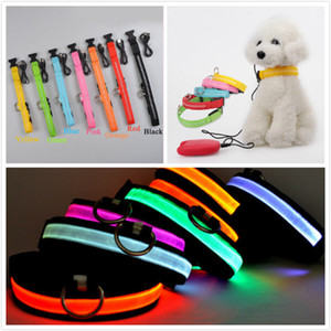Wholesale LED Flash Collars Dog Cat Collars Flashlight USB Rechargeable Noctilucent Pets Collar Night Safety Dogs Accessory Color Size