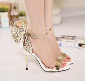 Wholesale Hot Sale Women Summer Gold Butterfly Sandals Buckle Strap Shoes CM Stiletto High Heels Gold and Silver