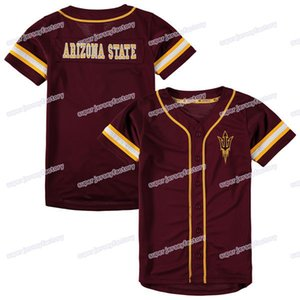 Wholesale Mens Arizona State Sun Devils Colosseum Play Ball Baseball Jersey Maroon Stitch Sewn High Quality Jerseys Cheap Size S XXXL