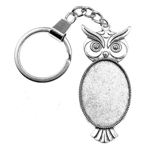 Wholesale 6 Pieces Key Chain Women Key Rings Fashion Keychains For Men Owl Single Side Inner Size x35mm Oval Cabochon Cameo Base Tray Bezel Blank