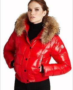 Wholesale Free ship Brand women down jacket thickening Short down parkas real raccoon fur collar hood down coat S XXL