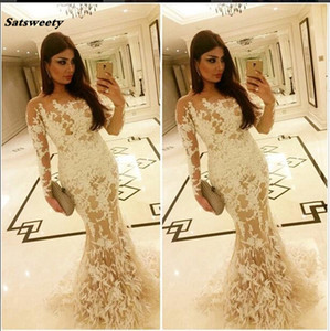 2019 Elegant Celebrity Evening Dresses Saudi Arabia Dubai Middle East Muslim Mermaid Ivory Appliques Long Sleeves Evening Dress on Sale