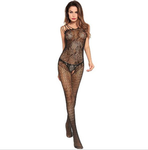 4ffc3bc20ec Europe and the United States super elastic sexy lingerie lace garters adult  Siamese stockings open Crotch net socks
