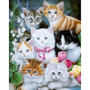 Wholesale Full Square Diamond D DIY Diamond Painting quot Cat family quot Embroidery Cross Stitch Rhinestone Mosaic Painting Decor