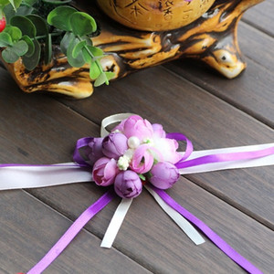 Wholesale rose ceremonies for sale - Group buy 20pcs Wedding Bride Bridesmaid Floral Hand Wrist Corsage Adjustable Ribbon Rose Bracelets Ceremony Party Prom Flower Decor Wedding
