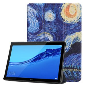 30pcs Book Flip Ultra Slim Painted PU Leather Case for Huawei Mediapad T5 AGS2-W09 AGS2-L09 AGS2-L03 AGS2-W19 10.0 inch Tablet Cover on Sale