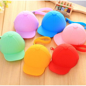 Wholesale Creative Cute Silicone Wallet Candy Color Key Bag Baseball Cap Hat Coin Bag Barphone Data Line Storage Bag