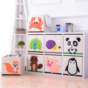 Wholesale 3D Embroider Cartoon Animal Folding Storage Boxes Children Clothes Toy Sundries Organizer Organic Cotton Cloth Toys Storage Bin