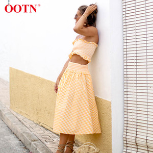 Wholesale OOTN Women Summer Suit Set Yellow White Plaid Ruched Tube Tank Tops Elastic High Waist Midi Skirts Female Gingham Two Piece Set