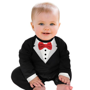 Cool Gentleman Baby Rompers Party Wedding Costumes Tuxedo Suit Baby Boys Clothing Black White Newborn Jumpsuit Bowtie