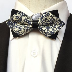 Wholesale Mantieqingway Blue Bow Ties Men Floral PU Leather Pointed Bow Knots Fashion Apparel Cotton Bowties Brand Men Wedding Ties