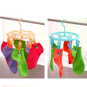 Wholesale Multi clamp clothes drying hanger 8 clips, clothes, pants, socks, socks hangers, circle  plum blossom shape optional