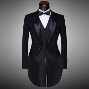 Wholesale Male Black Magician Tuxedo Suits Formal Stage Wear Dress Costumes Men s Clothing Set Costume Performance Show Prom Blazer Suit
