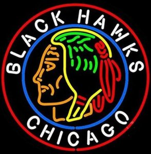 Wholesale Custom New Chicago Black Hawks Real Glass Neon Sign light Beer Bar Sign Send need photo x15 quot
