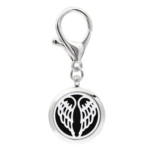 Wholesale Angel Wing KeyChain Essential Oil Aroma Diffuser Perfume Locket with Lobster clasp Keychain keyring With free Pads KA51 KA60