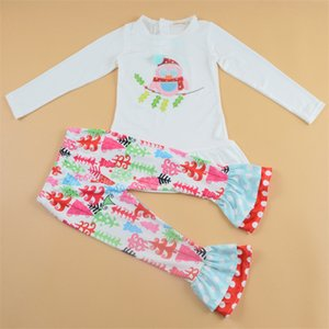 Wholesale 2019 explosion models Christmas autumn children s two piece owl T shirt striped pants Christmas suit girls