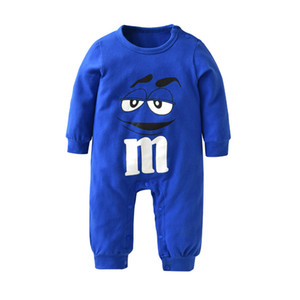Wholesale 2018 New fashion baby boys girls clothes newborn blue and red Long sleeve Cartoon printing Jumpsuit Infant clothing set