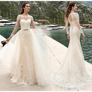 Wholesale Arabic New Sheer Crew Neck Overskirt Wedding Dresses Long Sleeves Backless Lace Appliques Elegant Mermaid Bridal Gowns with Bow Belt
