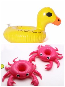 Wholesale Inflatable Yellow Duck Cup Holder Good Quality Pool party water fun enjoy swimming Berverage Float Cup Boat Multicolor Red lips Crab