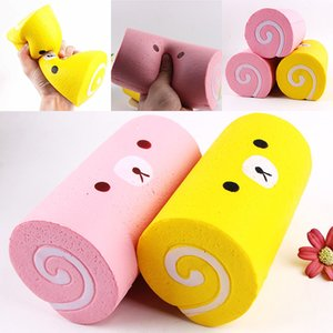 15CM Jumbo Kawaii Swiss Rolls Squishy charm Rilakkuma Squishy Slow Rising squeeze soft Scented phone straps toy Novelty Items WX9-370