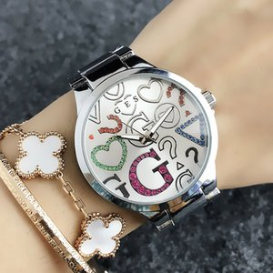 Fashion Brand Wrist Watches for women Girl Colorful crystal Big G style dial steel metal band quartz watch GS 7155