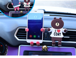 Brown Bear Bunny Super Man Car Phone Holder Stand For iphone X Air Vent GPS Universal Mobile Phone Holder Key Chain Key Ring