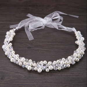 Wholesale 2017 Bride Hair Decoration Women Pearl Beads Headbands Hair jewelry Indian Beaded Head Piece Wedding Head Chain Hair Jewelry S918