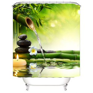 Wholesale Eco Friendly Waterproof D Shower Curtain for the Bathroom Stone Green Bamboos Printed Decoration Flower Bath Curtain Polyeater