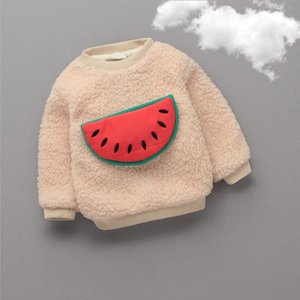 Wholesale Baby Boys Girls Sweaters Cartoon Watermelon Animals Add Wool Warm Spring Autumn Pullovers Children Cute Kindergarten Clothes