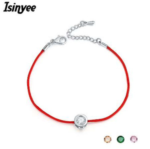 Wholesale ISINYEE Fashion Red String Thread Rope Bracelet Small Cubic Zirconia CZ Bracelets For Women Handmade Crystal Jewelry Lovers