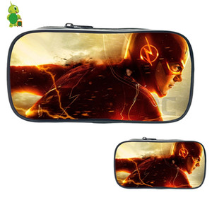 Wholesale The Flash Cosmetic Cases Super Hero Pencil Box Kids Boys Girls Stationery School Supplies Purses Women Men Makeup Bag