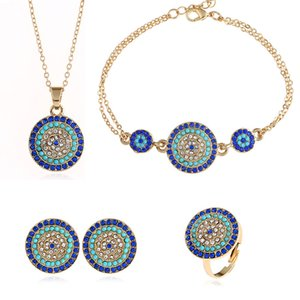 Wholesale national style wedding jewelry sets Round Turkey blue eyes crystal ring chain bracelet diamond Pendant necklace blue earrings