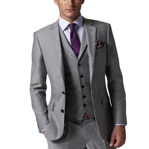 Slim Fit Groom Tuxedos Groomsmen Light Grey Side Vent Wedding Best Man Suit Men's Suits (Jacket+Pants+Vest+Tie) on Sale