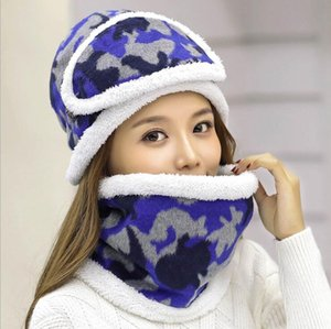 New Thick Warm Beanies&Ring Scarf&Mask For Women Cotton Knitted Hat Sets Winter Scarf Ear Protection Print Hats Set Female