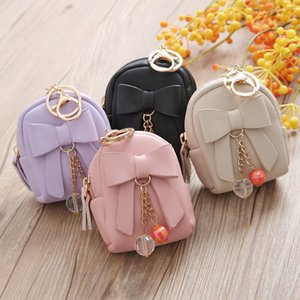 Wholesale Lady key bag, Korean schoolbag, bow pendant, zipper, zipper, Mini purse, Mini purse, wholesale.