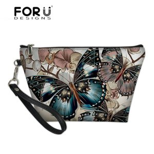 Wholesale FORUDESIGNS Cosmetic Cases Women Butterfly D Printing Toiletry Wash Kit Bags for Make Up Ladies Portable Travel Necessity Bolsa