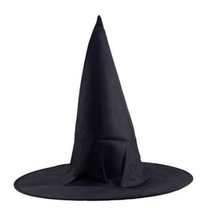 Wholesale 1pc Adult Women Men Black Witch Hat for Halloween Costume Accessory Hen s Party Cap Magic Hat navidad halloween decoration