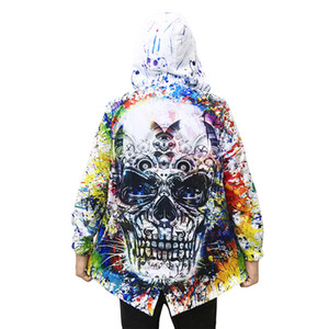 Autumn Spring fashion trench coat men Mechanical skull windbreaker 3D print hooded mens trench coat abrigo hombre