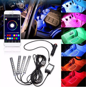 4x 9LED RGB Car Interior Decorative Floor Atmosphere Lamp Light Strip Smart Intelligent Wireless Phone APP Control Voice Control