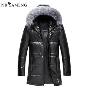 Wholesale New Winter Thick Warm Solid Men Withe Duck Down Coat High Quality PU Leather Jacket Parka With Real Fox Fur Hood M0367
