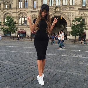 Wholesale Women Bodycon Dresses Summer Sexy New Fitness Black Crew Neck Short Sleeve Sheath Slim Knee Length Dress