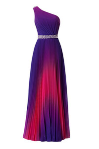 2019 Hot One Shoulde A-line Gradient Color Prom Dresses Beaded Backless Zipper Side Evening Gowns with Pleats Ruched Vestido de Fiesta