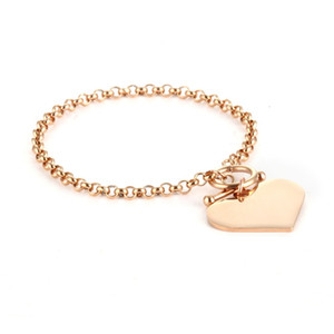Wholesale 10PCS Stainless Steel OT Buckle Bracelet Accessories Jewelry Gold Smooth Love Pendant Bracelet Jewelry