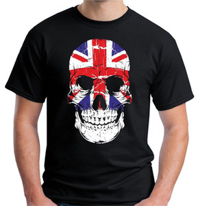 Wholesale 2018 Fashion New Mens Uk Skull T Shirt Union Jack Flag Gb Scary Horror Evil Goth Custom Print Casual O Neck Top Tee
